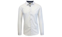Galaxy by Harvic Men's Slim Fit Shirt - White Dotted Print - Size: Large