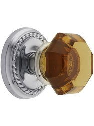 Classic Rope Rosette Set W/ Amber Crystal Door Dummy Knobs - Chrome