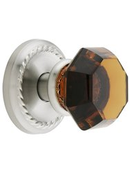 Classic Rope Rosette Set W/ Amber Crystal Door Dummy Knobs - Satin Nickel