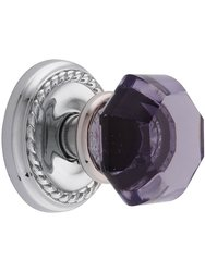 Classic Rope Rosette W/ Amethyst Crystal Dummy Door Knobs - Chrome