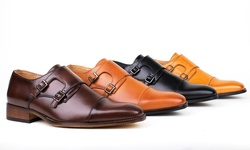 Gino Vitale Men's Monk Strap Dress Shoes-Black-10.5