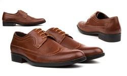 Royal Men's Long-Wing Dress Shoes - Brown - Size: 10