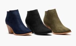 Olive Street Women's Heeled Ankle Bootie: Cognac/9.5