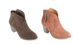 Mata Shoes Chunky Heel Ankle Booties: Taupe/8.5
