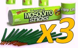 3-pack Save $$ Murphy's Mosquito Sticks - All Natural Insect Repellent Incense Sticks - Bamboo Infused With Citronella, Lemongrass & Rosemary (3 Pack)