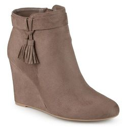 Journee Collection Women's Tasseled Wedge Booties - Taupe - Size: 8