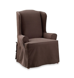 Sure Fit 2-Piece Cotton Twill Chair Slipcover - Coffee