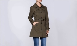 Women's Lightweight Trench Coats - Olive - Size: Large