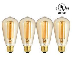 MXTC Tinted Edison Style Led Filament Bulb 60 Watt 4 PcK
