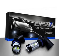 OPT7 H10 CREE LED Fog Light Bulbs 5000K Bright Plug Play - 2 Pck - White