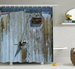 "Decor Collection Bathroom Shower Curtain Set - Blue Khaki - 69"" x 75"""