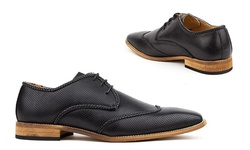 Royal Men's Brogue Wingtip Shoes - Black - Size: 9
