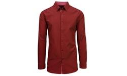 Slim Solid & Printed Long Sleeve Shirts - Burgundy - Size: Medium