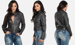Vegan Leather and Vegan Suede Biker Jackets - Black - Size: Large