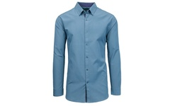 Galaxy By Harvic Slim Solid Long Sleeve Shirts - Slate Blue - Size: Large