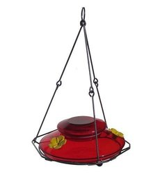 Handblown Hummingbird Feeder: Modern Top Fill/red