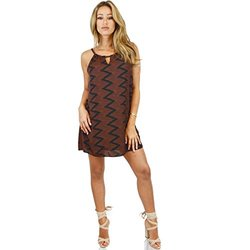 Keyhole Chevron Print Shift Dress: Orange/large