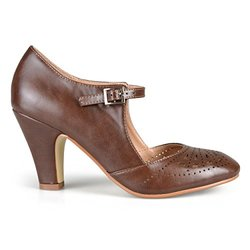 Brinley Co. Women's Cutout Round Toe Mary Jane Pumps Brown 10