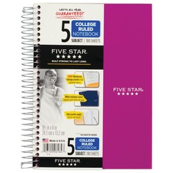 Five Star Wirebound Notebook - 5 Sub 180ct CR - Purple