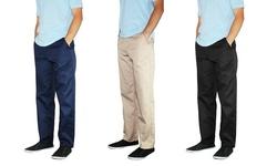 Galaxy Men's Flat-Front Twill Pants-Navy - Size: 32x32