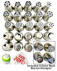 Russian Piping Tips 48pcs Set (27 XLarge nozzles 20 FREE disposable pastry bags tri coupler) 304 Stainless DELUXE Nozzle Buttercream Decorating Kit Icing Cup Cake Decorations & Instructional Videos