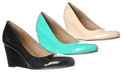 Riverberry Women's Leah Mid Heel Round Toe Wedge Pumps - Black - 8