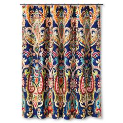 "Mudhut Tribal Design Shower Curtain - Multi-Colored - Size: 72"" x 72"""