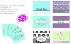 """Paper Greeting Cards Thank You Notes 2 Pack with Envelopes - Size: 5""""x3.5"""""""