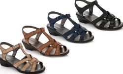 Rasolli Glory-5 Wedge Comfort Sandals - Black - Size: 6.5