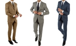 Alberto Cardinali Men's 2-Pcs Slim-Fit Sharkskin Suits - Taupe - 52l-46w