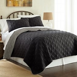 Single Stich Reversible Coverlet (3-pack): Lattice-black-gray/queen