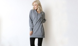 Women's Hoodie Sweatshirt Dress: Heather Grey - Large