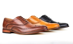 Gino Vitale Men's Wing Tip Brogue Oxfords Shoes: Black - 8