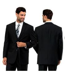 Men's Two-uBtton Suit - Black - Size: 52R x 46W