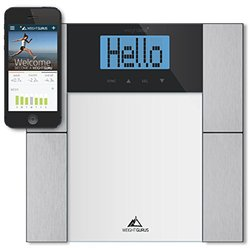 Weight Gurus Digital Body Fat Scale with Large Backlit LCD and Smartphone Tracking (clear)