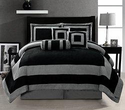 7 Pieces Black and Grey stripe Micro Suede Comforter Set Bed-in-a-bag KING Size Bedding