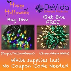 DeVida Mardi Gras Theme Xmas Decorations Party String Lights, Solar Powered 100 Mini LED Multi Colored Set, Outdoor Waterproof Lighting Decor, No Outlet Needed, (Purple Gold Green)