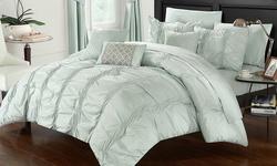 Chic Home 10-Piece Morn Comforter Set - Green - Szie: Queen