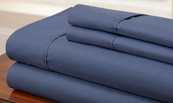 Hotel New York 100% Cotton Sateen Sheet Set - Navy - Size: King