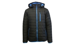 Spire Men's Puffer Jacket with Detachable Hood - Charcoal/Royal - Size: L