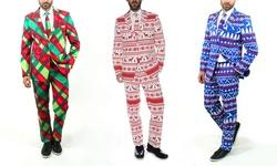 Braveman Men's Christmas Suits: Christmas Plaid/38sx32w