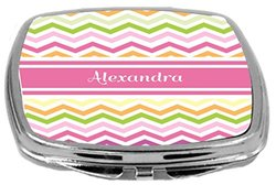 Rikki Knight Pink Chevron Name Design Compact Mirror, Alexandra, 3 Ounce