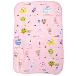Babies Cartoon Cotton Waterproof Compartment Mat - Pink - Size: L