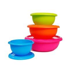 Honla Plastic Mixing Bowls with Lids 4 Pc Set - Multi Color
