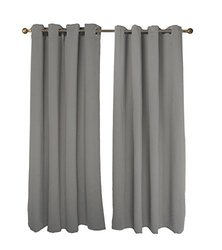 "FY-Living Microfiber Solid Woven Curtains Set - Grey - Size: 52"" x 63"""