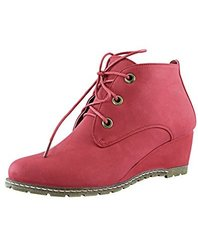 DailyShoes Women's Oxford Wedge Bootie - Pink - Size: 8