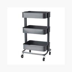 Advantus Rolling Cart on Wheels - Metal with 3 Deep Bins - Grey
