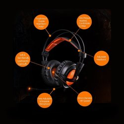 SADES A6 USB PC 7.1 Surround Sound  Headphone  (Black)