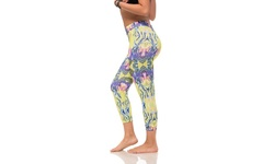 Women's Active Stretch Leggings - Lava Print Yellow - Size: Medium