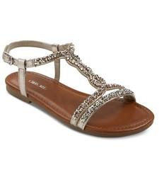 Cherokee Girls' Britt Jeweled Slide Sandals - Black - Size: 5